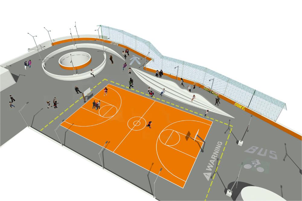 Illuminazione tutta nuova un campo di basket perfino un area per