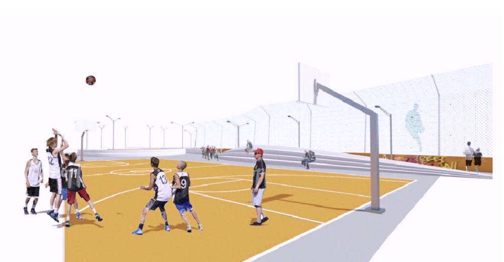 Prato un playground di basket sulla terrazza del serraglio - Dimensioni della porta da calcio ...